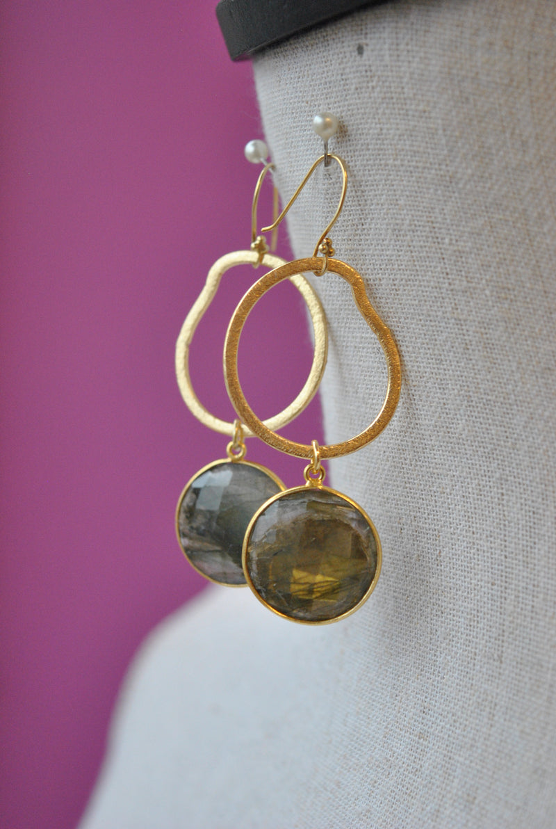 NATURAL LABRADORITE ON GOLD LONG EARRINGS