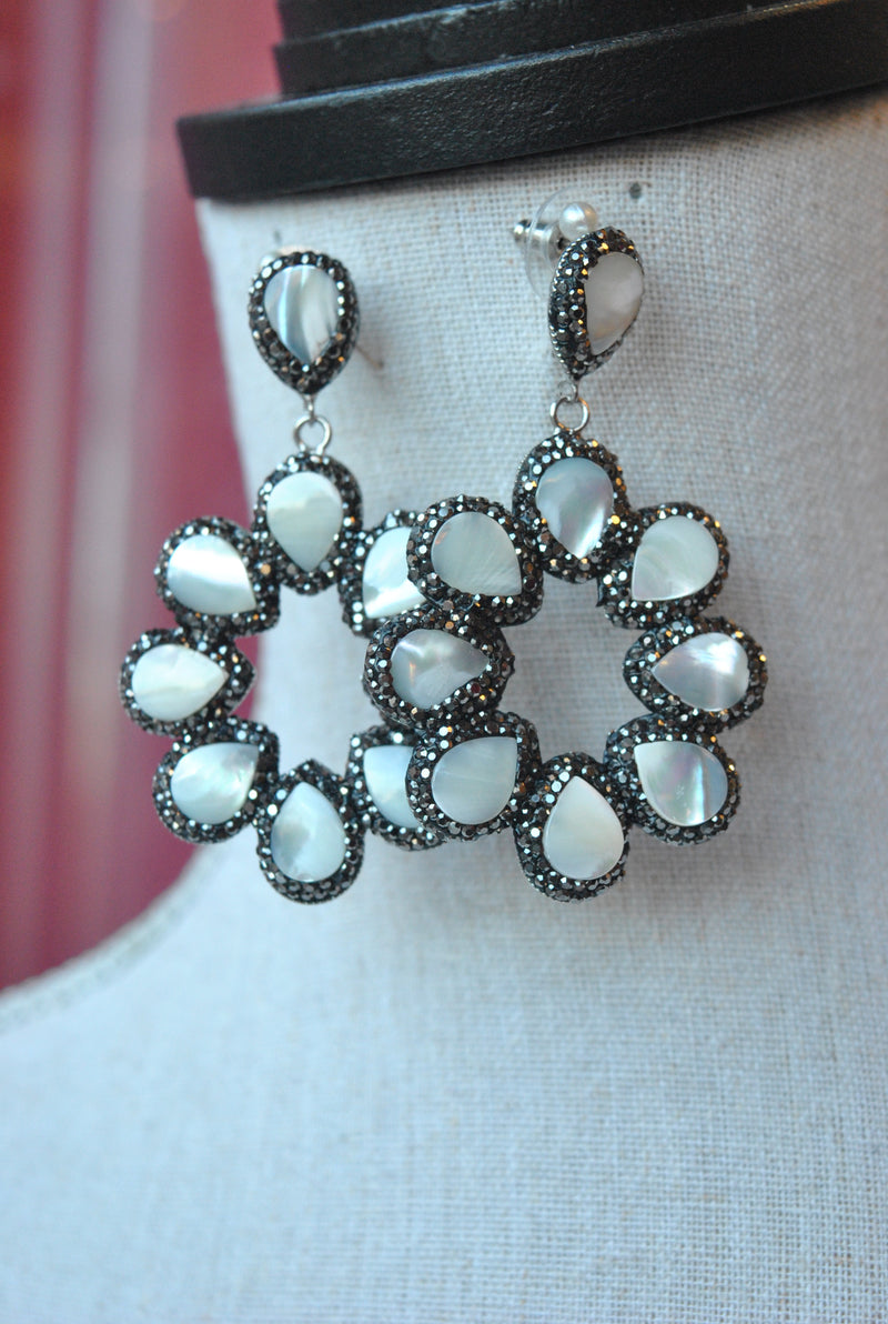 MOTHER OF PEARLS AND GUNMETAL CRYSTALS STATEMENT EARRINGS