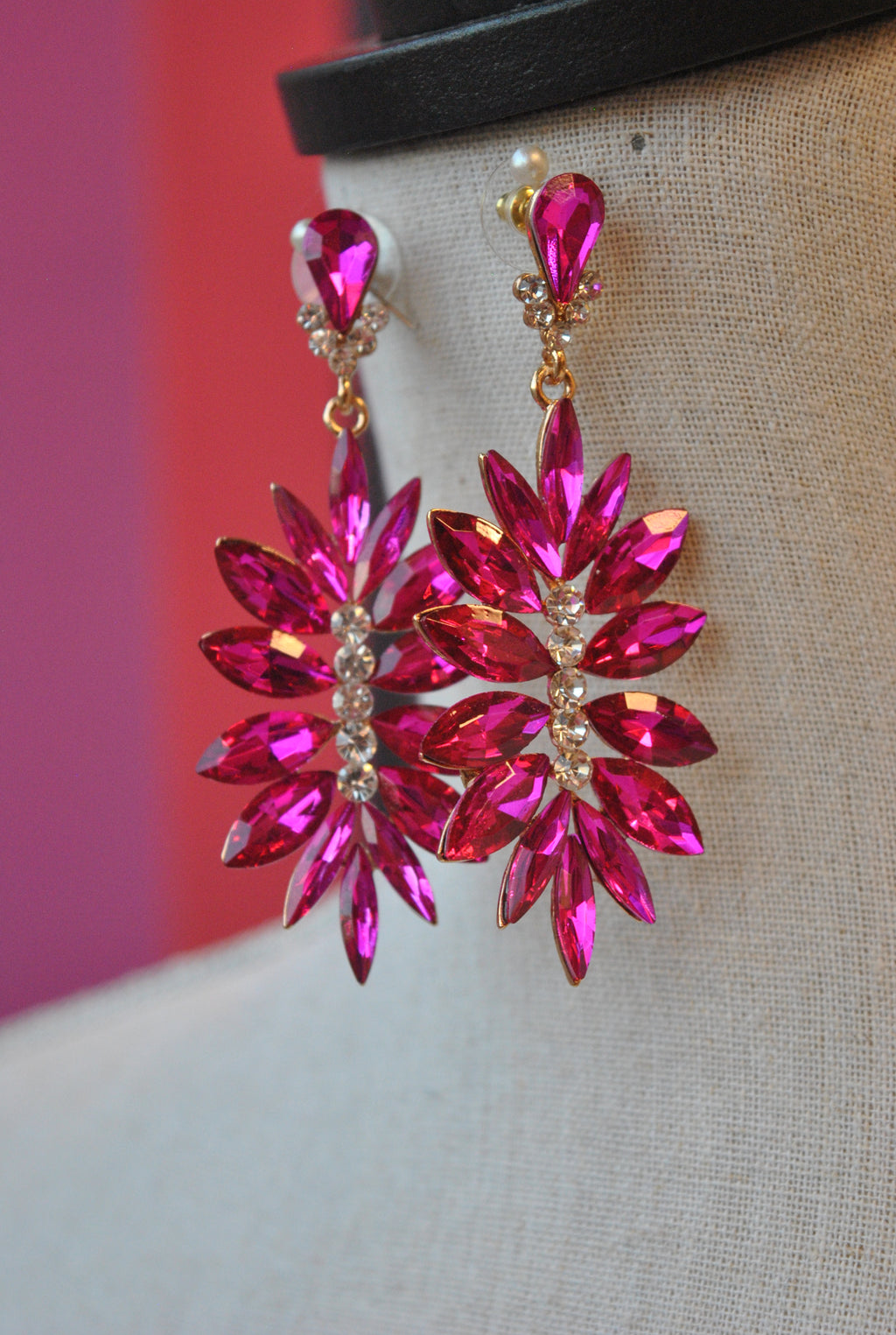 FASHION COLLECTION - HOT PINK CRYSTALS STATEMENT EARRINGS