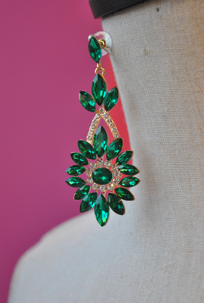 FASHION COLLECTION - EMERALD GREEN CRYSTAL STATEMENT EARRINGS