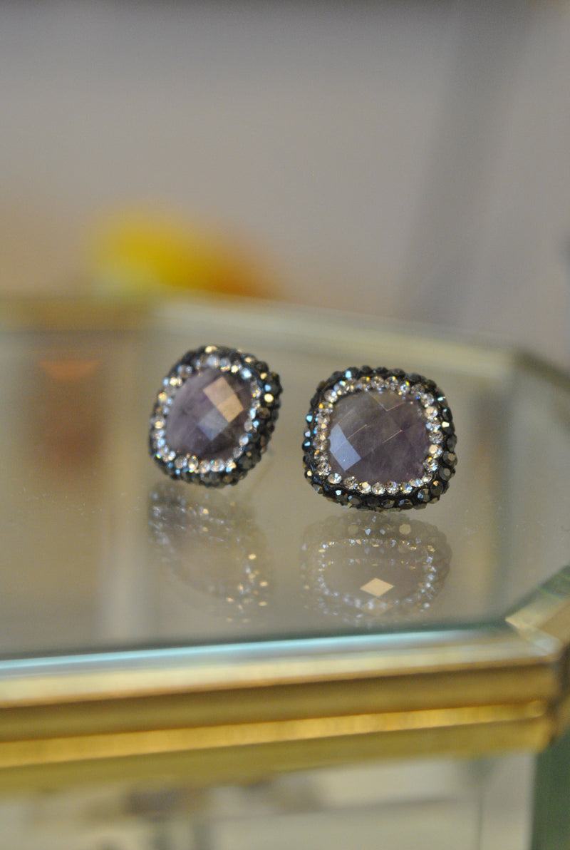 STUDS COLLECTION - AMETHYST AND SWAROVSKI CRYSTALS STUDS