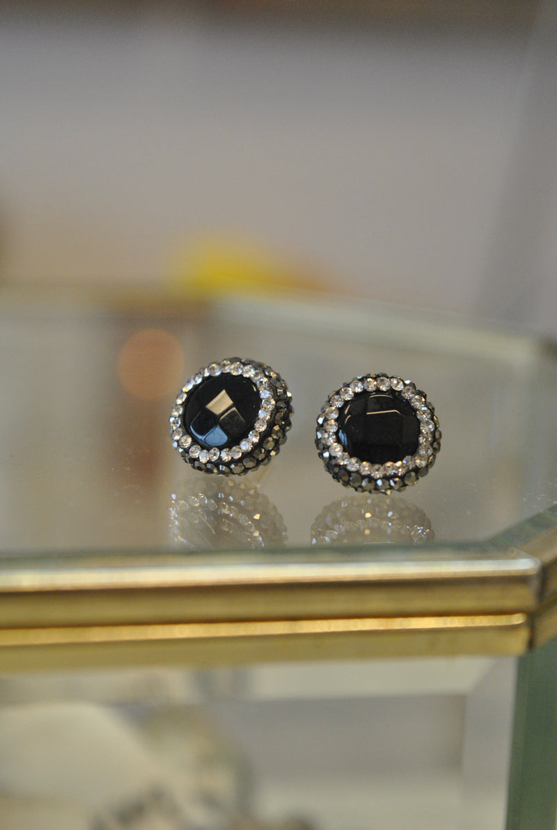 STUDS COLLECTION - BLACK ONYX AND SWAROVSKI CRYSTALS