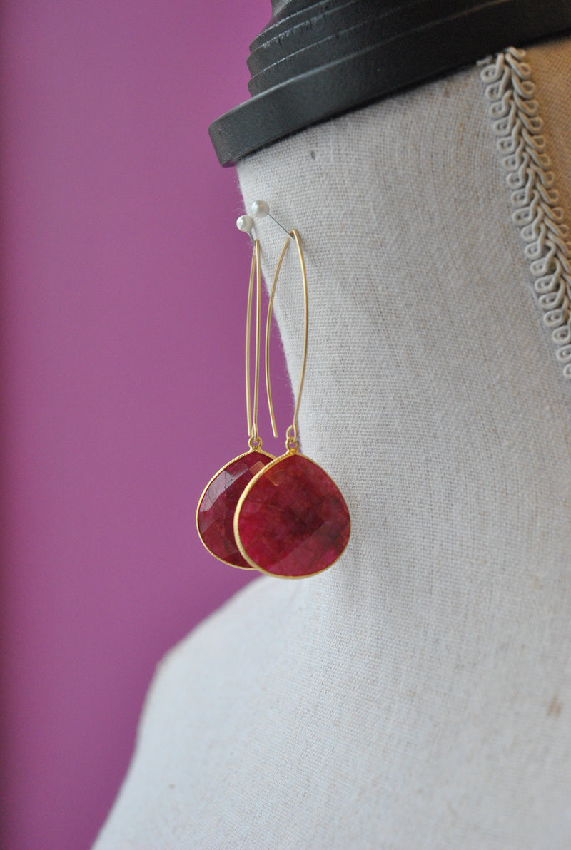 RUBIES LONG STATEMENT EARRINGS