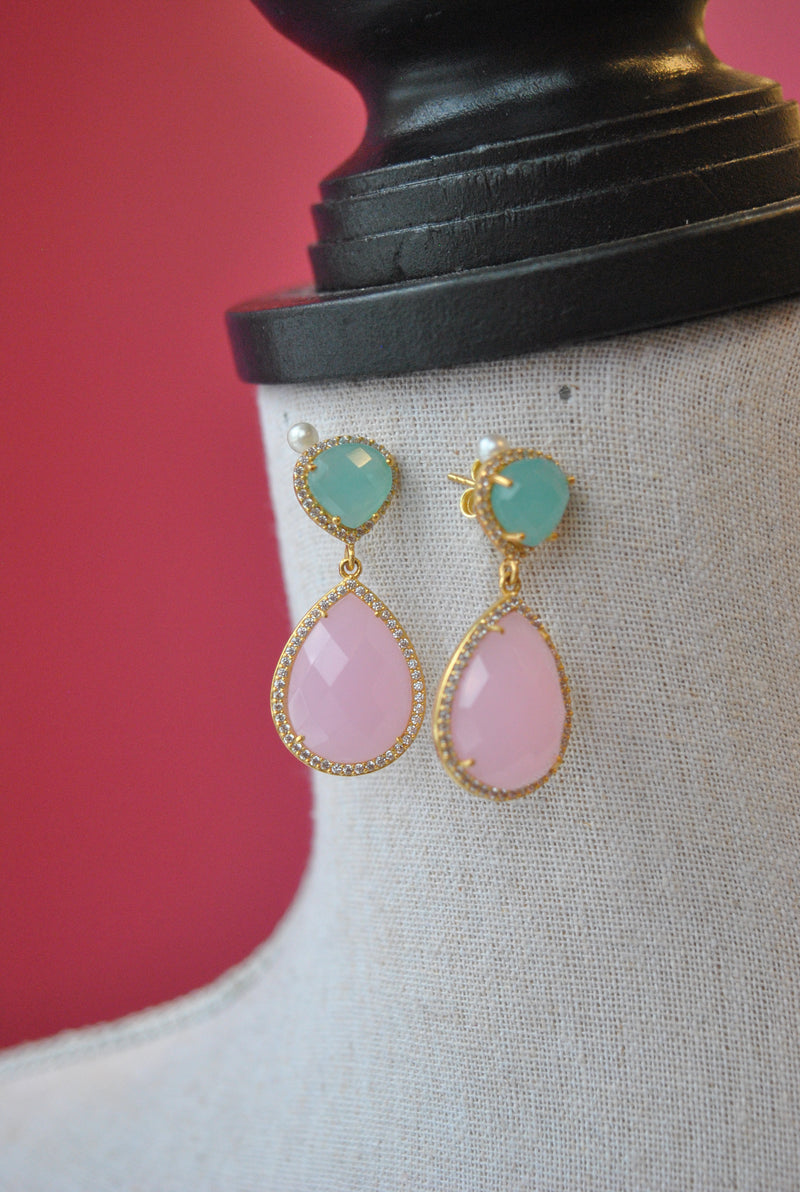 PINK AND BLUE QUARTZ EARRINGS