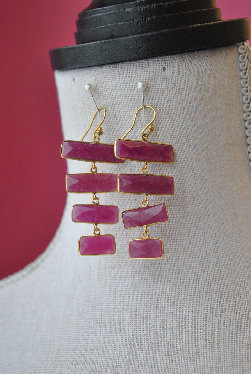 RUBY STRIPLE LONG EARRINGS