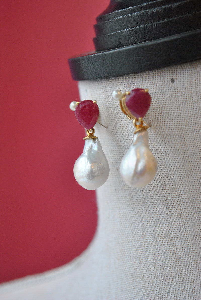 RUBIES AND WHITE JUMBO GRESHWAETR PEARLS ELEGANT EARRINGS