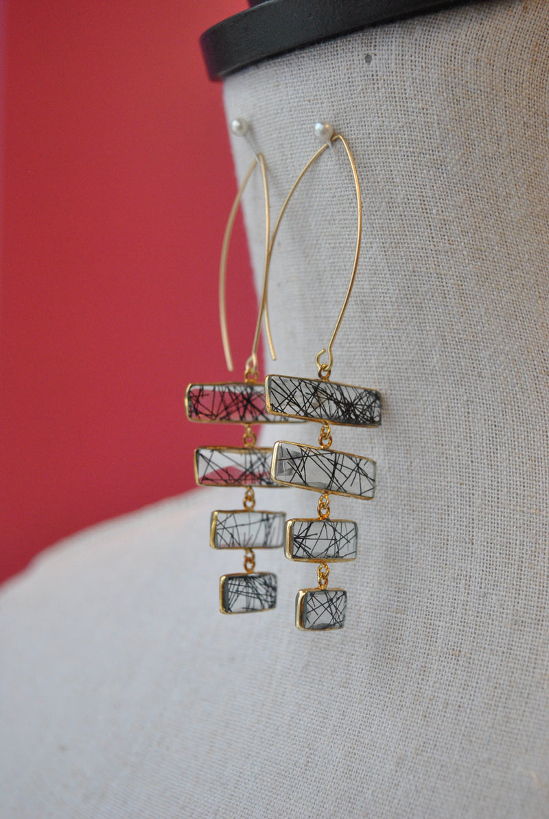 TOURMALINATED QUARTZ STATEMENT LONG EARRINGS
