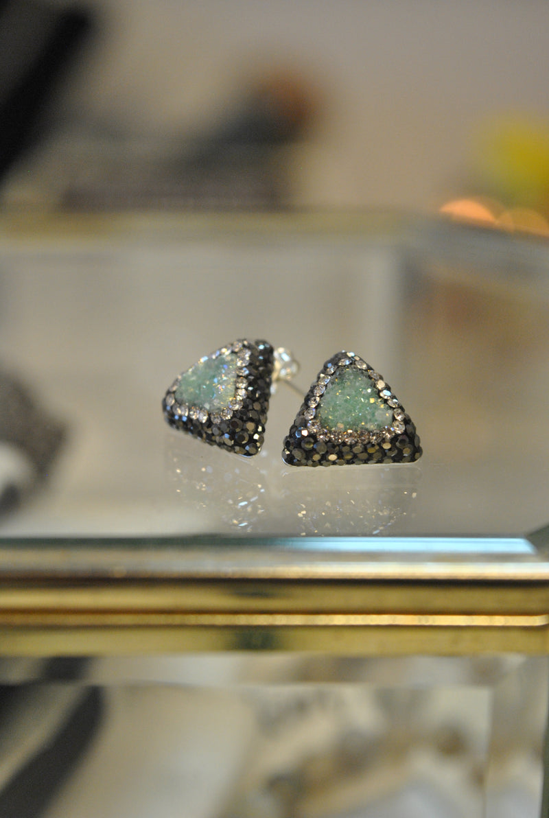 STUDS COLLECTION - MINT DRUZY AND SWAROVSKI CRYSTALS STUDS