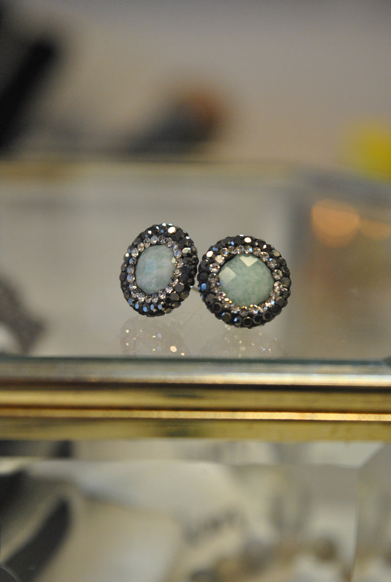 STUDS COLLECTION - AMAZONITE AND SWAROVSKI CRYSTALS STUDS