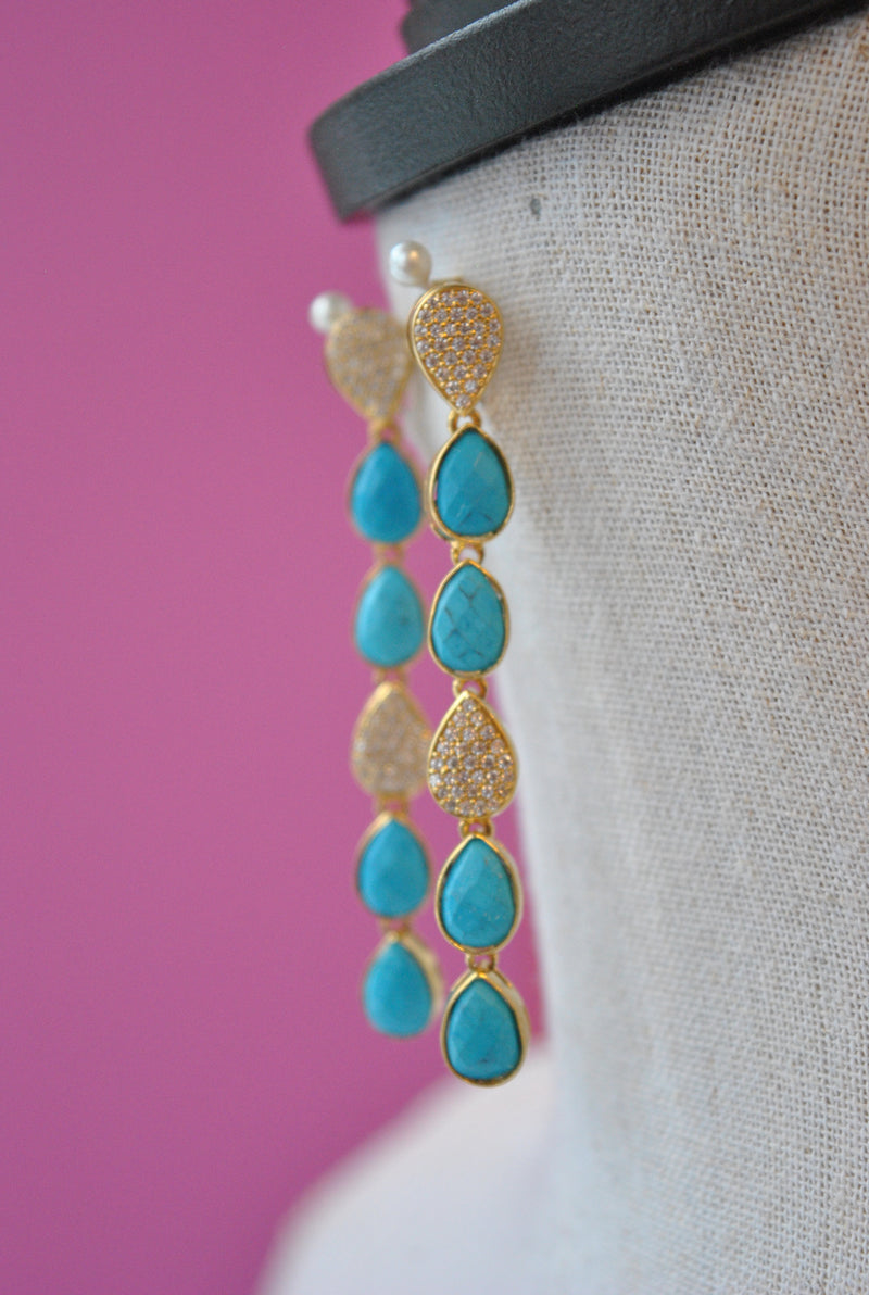 TURQUOISE AND RHINESTONES ON GOLD LONG EARRINGS