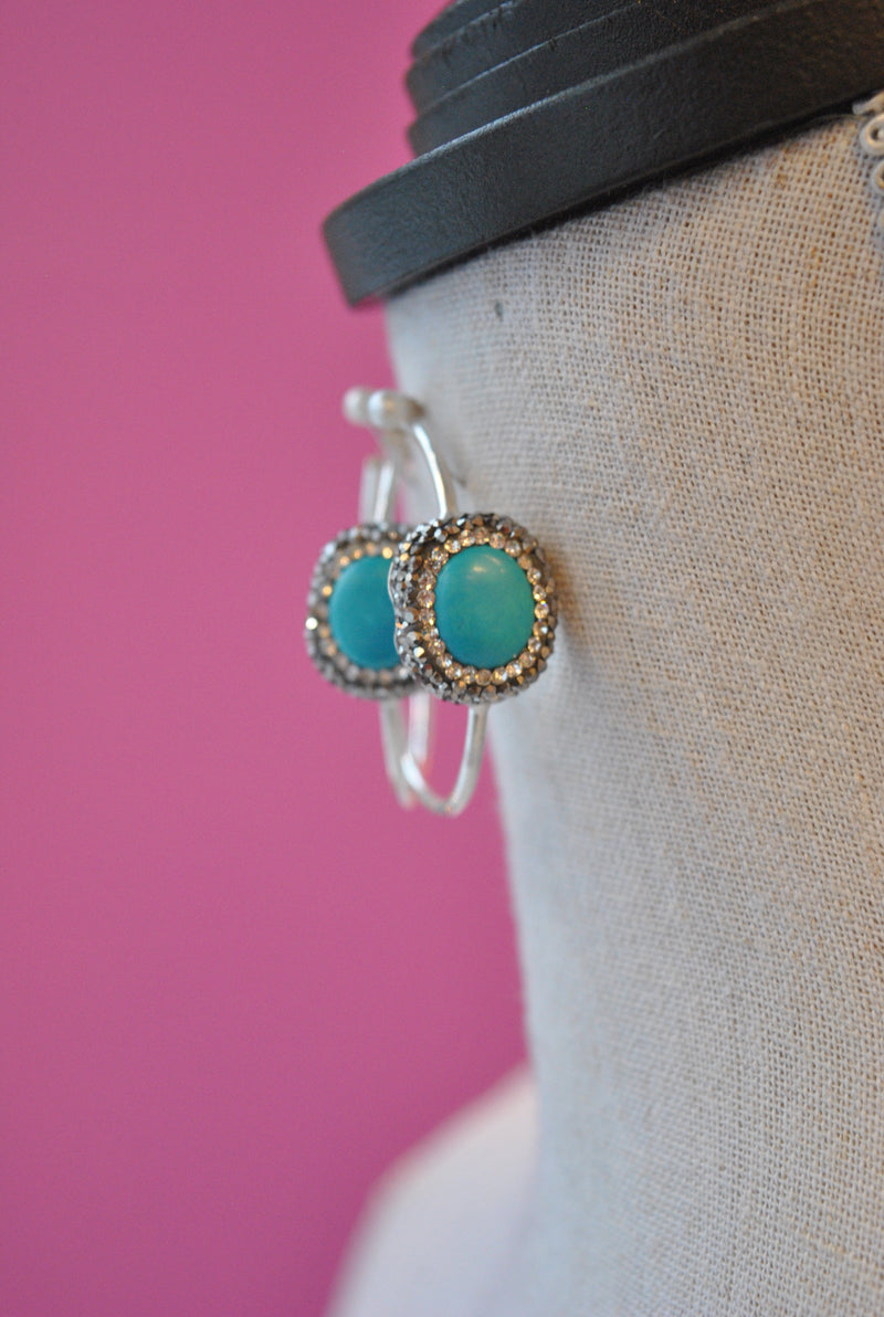 HOOP COLLECTION - TURQUOISE AND SWAROVSKI CRYSTALS ON STERLING SILVER
