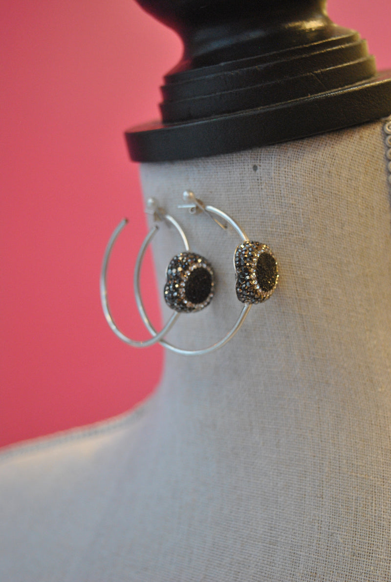 HOOP COLLECTION - BLACK DRUZY AND SWAROVSKI CRYSTALS ON STERLING SILVER HOOPS