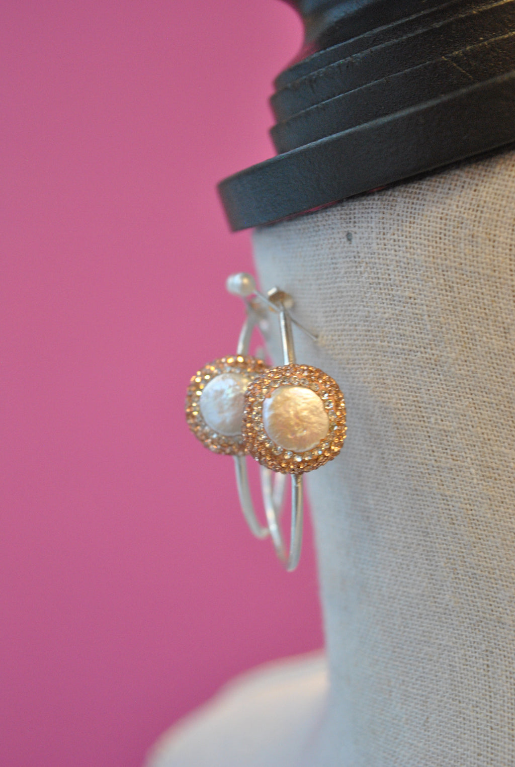 HOOP COLLECTION - MOTHER OF PEARLS AND SWAROVSKI CRYSTALS HOOPS