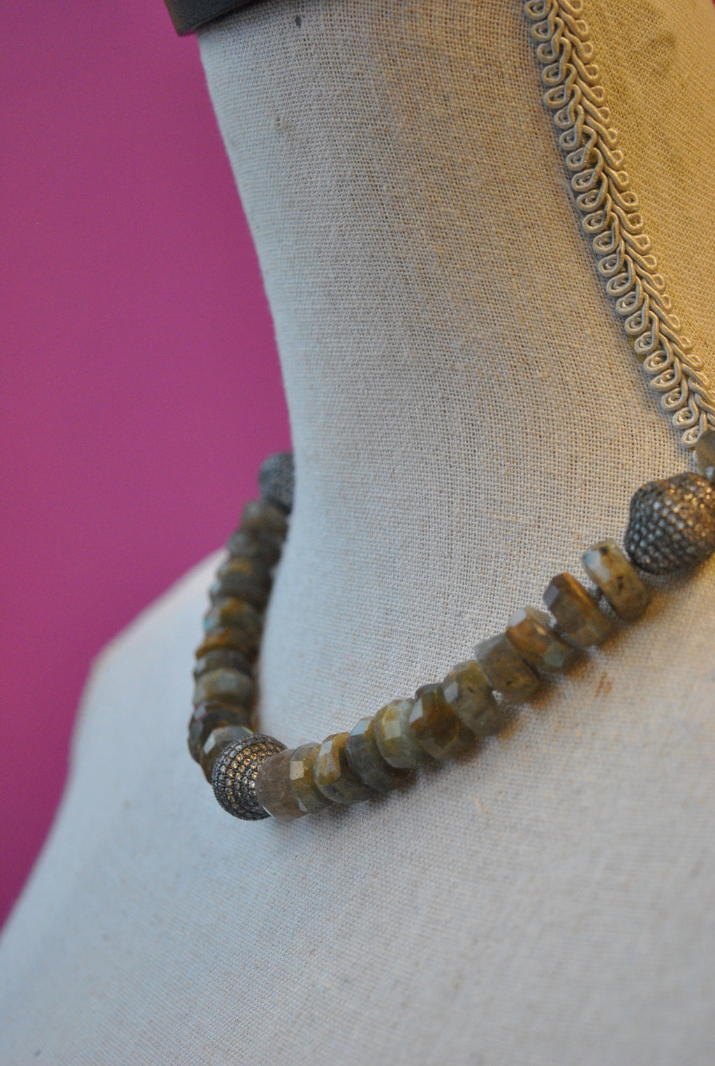 LABRADORITE AND GUNMETAL RHINESTONES NECKLACE