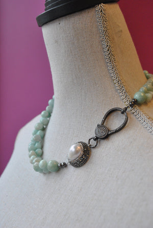 AMAZONITE, PEARLS AND SWAROVSKI CRYSTALS SIMPLE NECKLACE