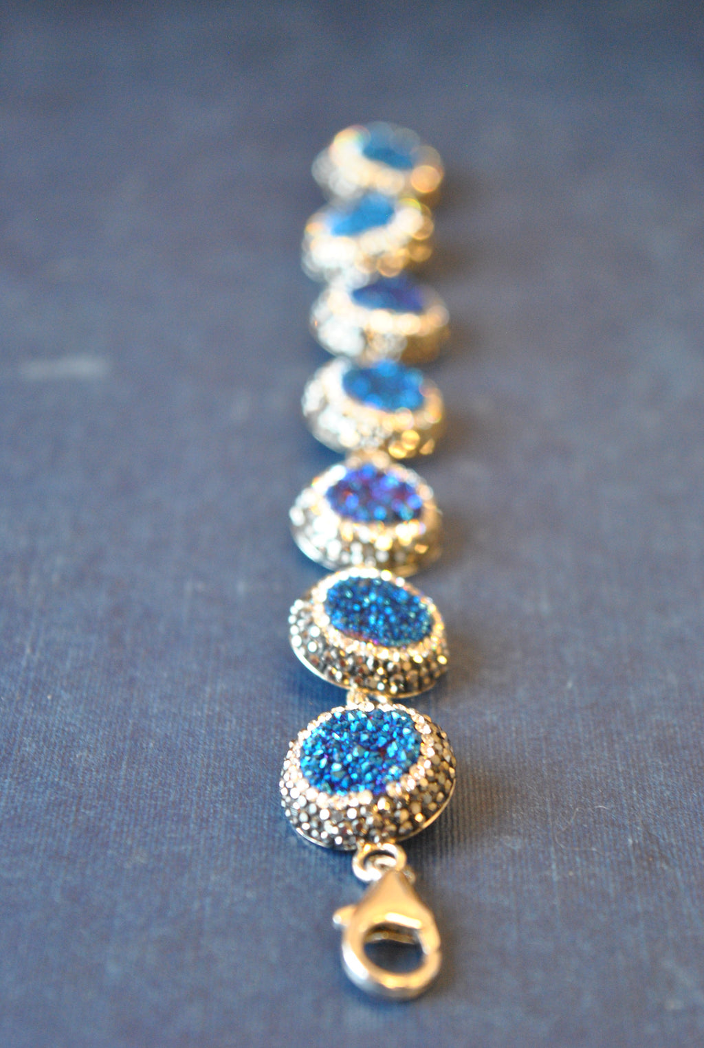 ROYAL BLUE DRUZY AND SWAROVSKI CRYSTALS BRACELET