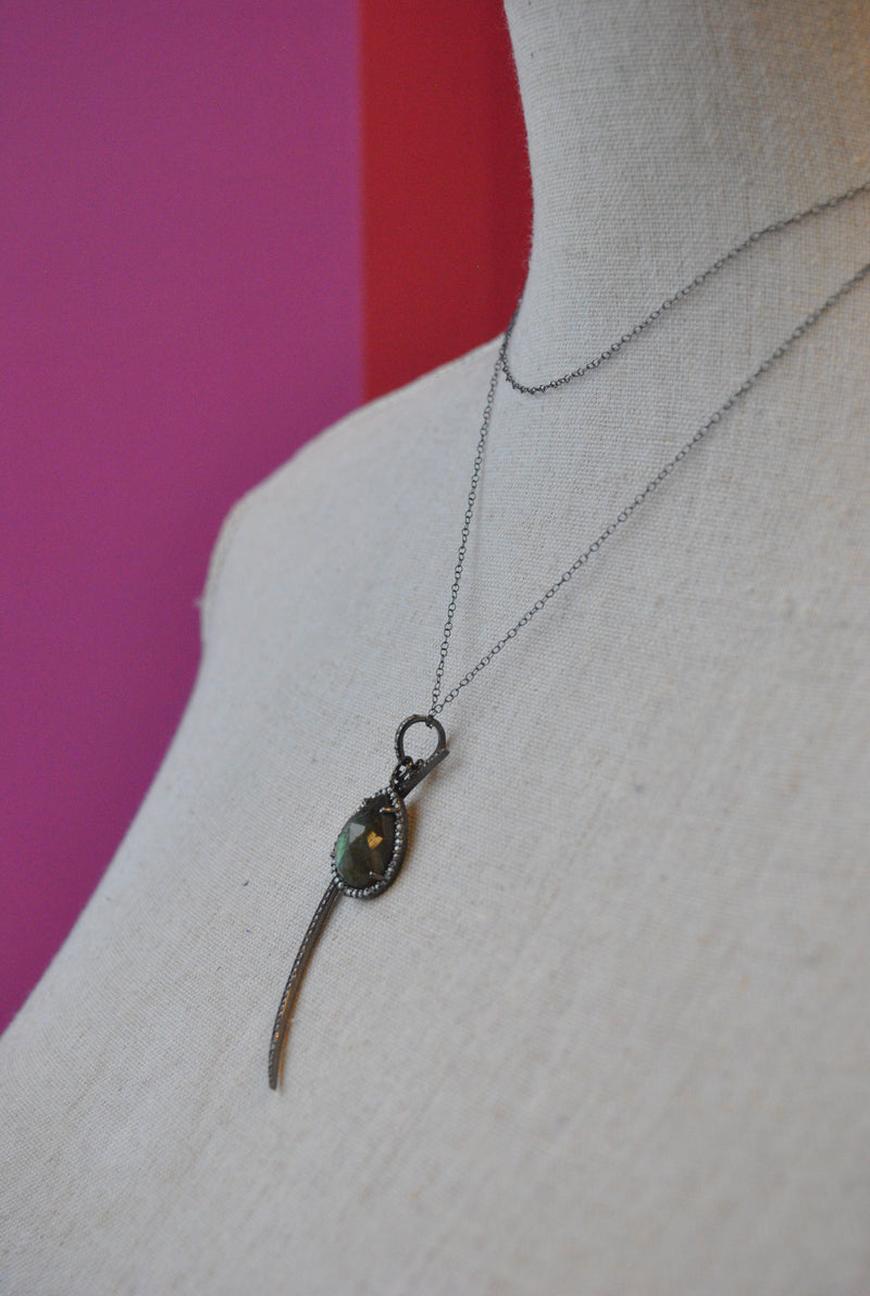 LABRADORITE AND RHINESTONES LONG NECKLACE PENDANT