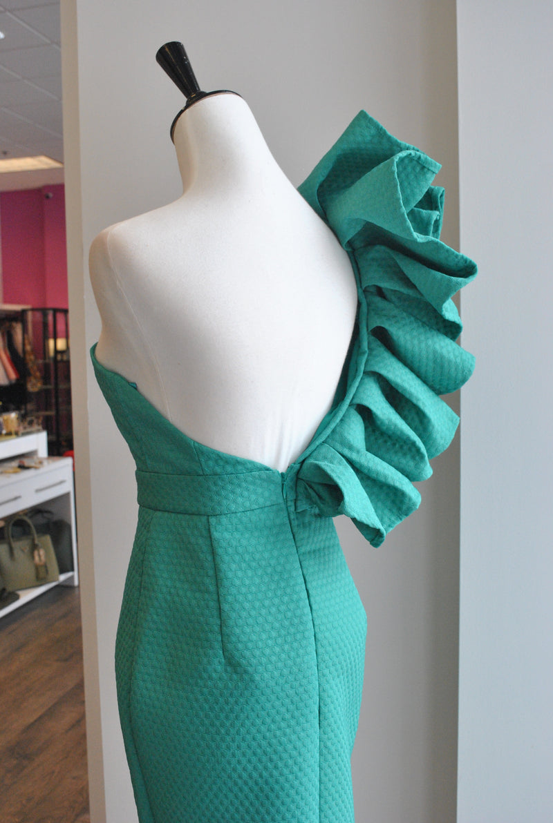 ASYMMETRIC GREEN DRESS WITH RUFFLES