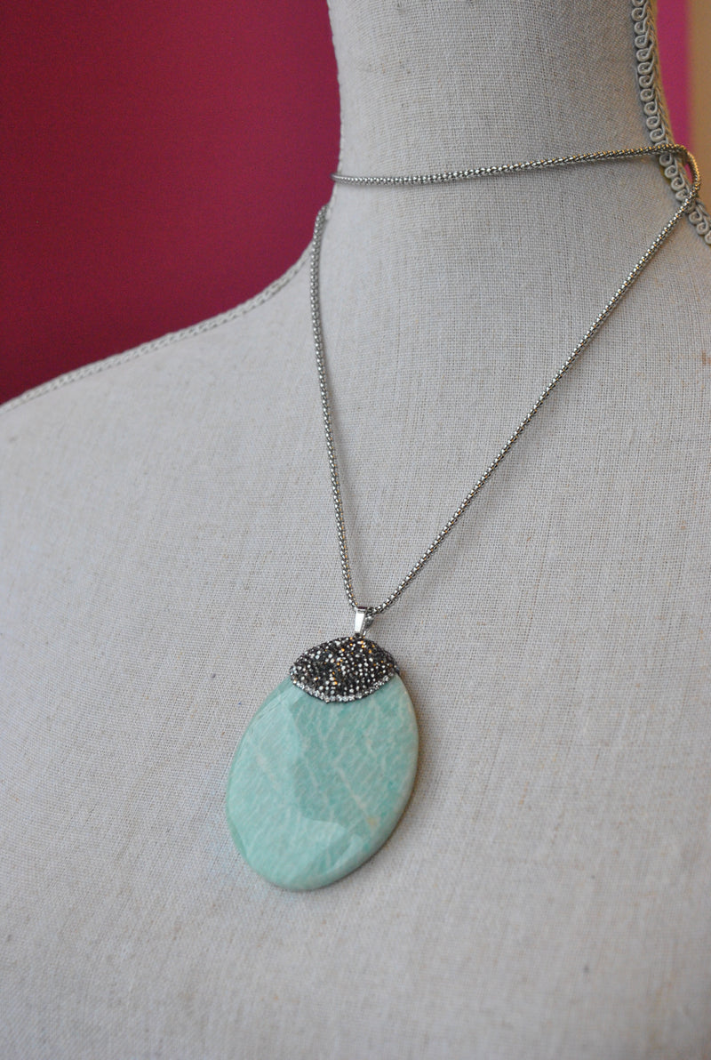 MINT AMAZONITE AND SWAROVSKI CRYSTALS