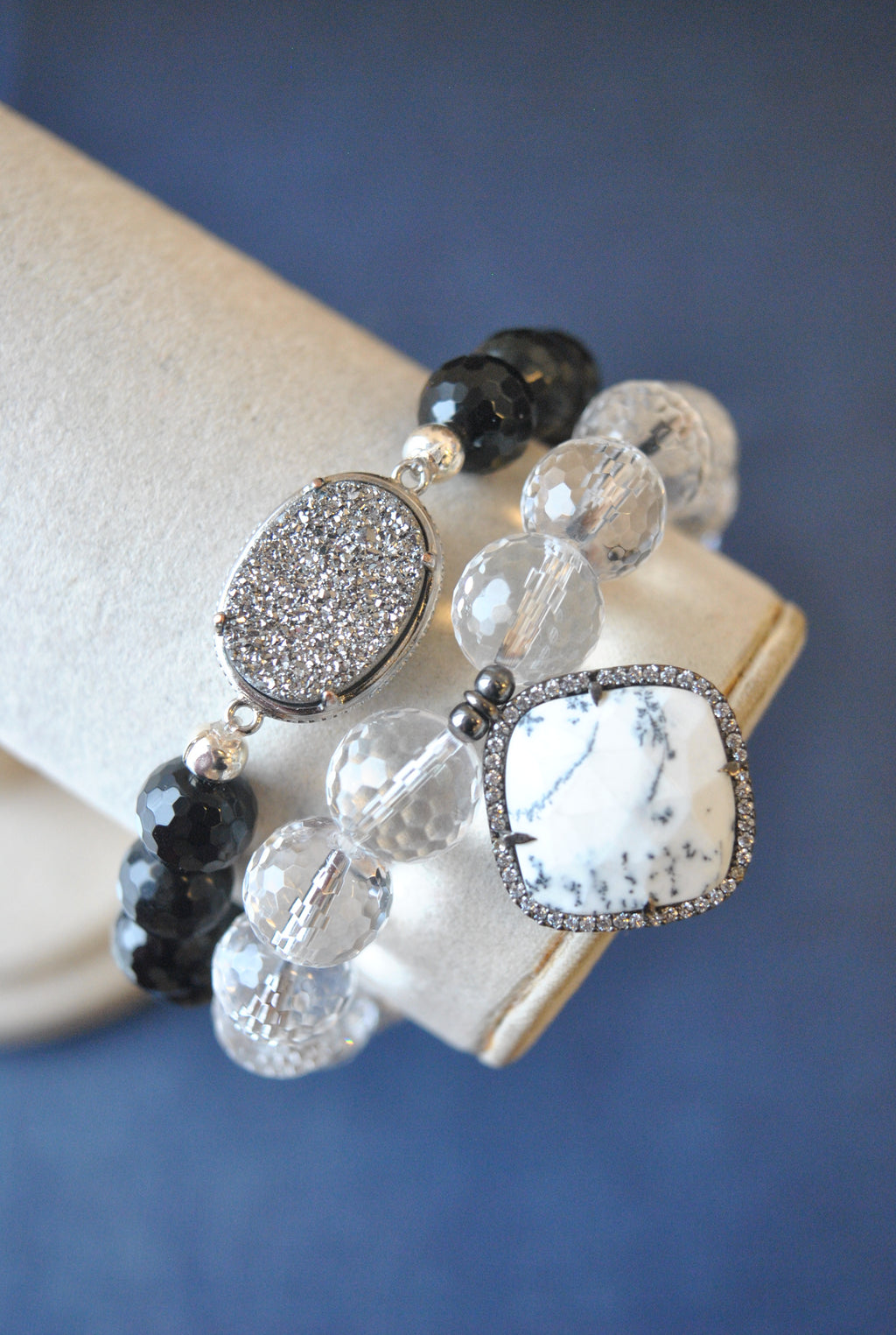 BLACK ONYX AND CRYSTAL QUARTZ BRACELET SET