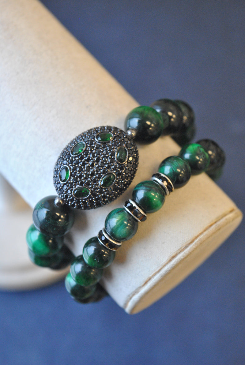 GREEN TIGEREYE STRETCHY BRACELETS SET