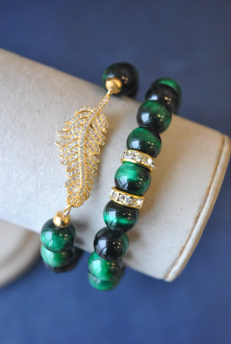 GREEN TIGER EYE AND GOLD RHINESTONES STRETCHY BRACELETS SET