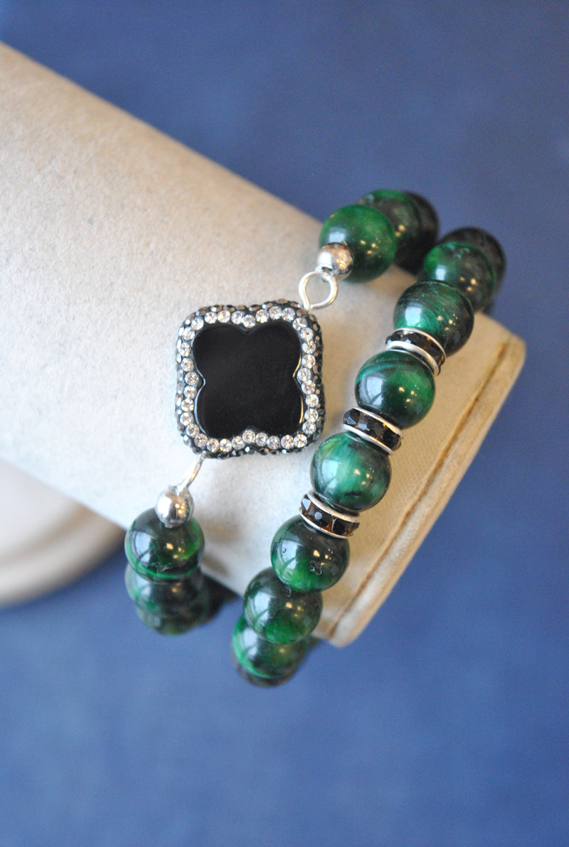 GREEN TIGEREYE AND BLACK ONYX WITH SWAROVSKI CRYSTALS BRACELETS SET