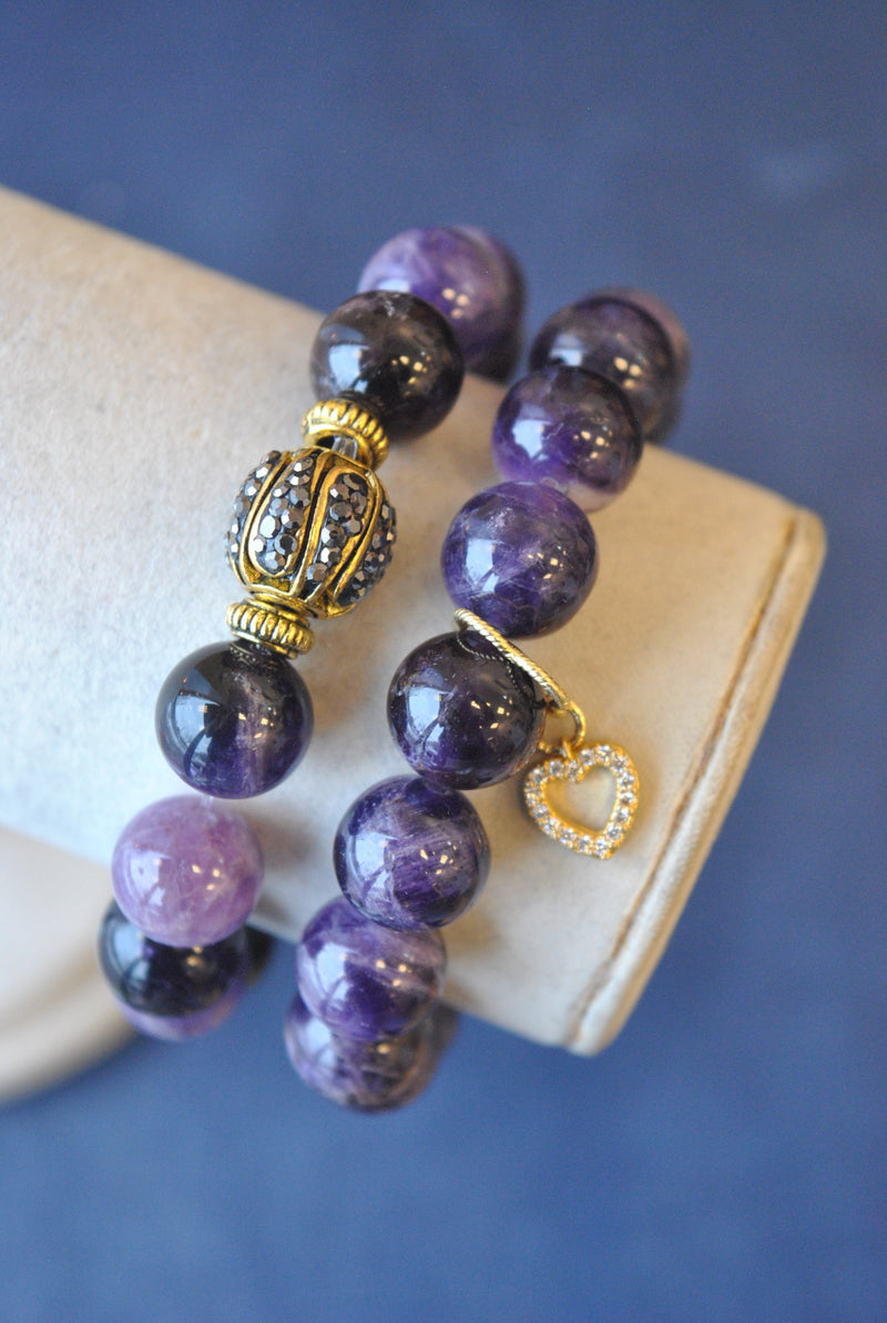 AMETHYST AND RHINESTONES STRETCHY BRACELET SET