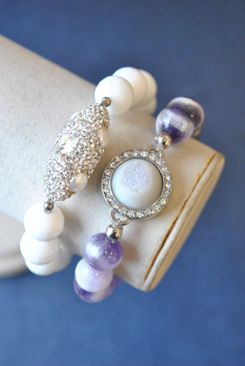 AMETHYST WHITE OYX DRUZY AND SWAROVSKI CRYSTALS STRETCHY BRACELET SET