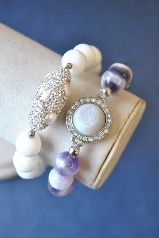 FROZEN AMETHYST AND SWAROVSKI CRYSTALS STRETCHY BRACELETS SET
