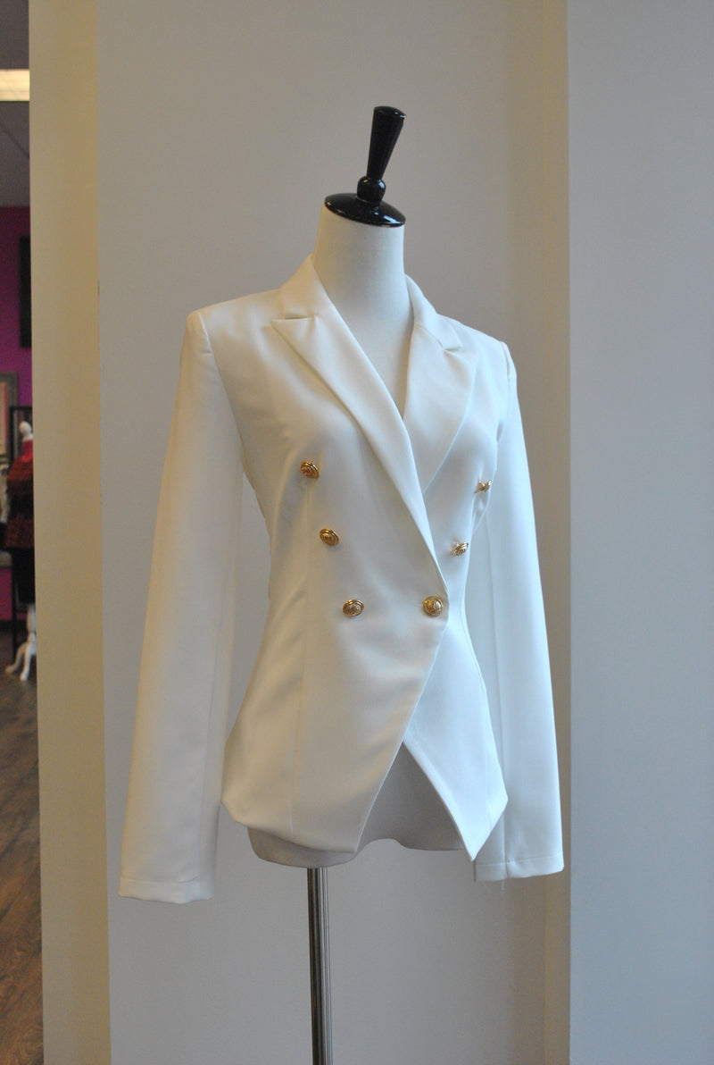 DOUBLE GOLD BUTTONS WHITE JACKET