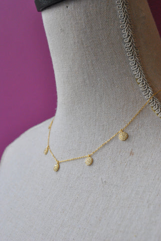 GOLD DELICATE DROP NECKLACE WITH CRYSTAL CHARMS