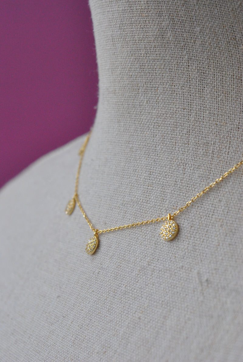 GOLD CHAIN WITH RHINESTONE DROPS