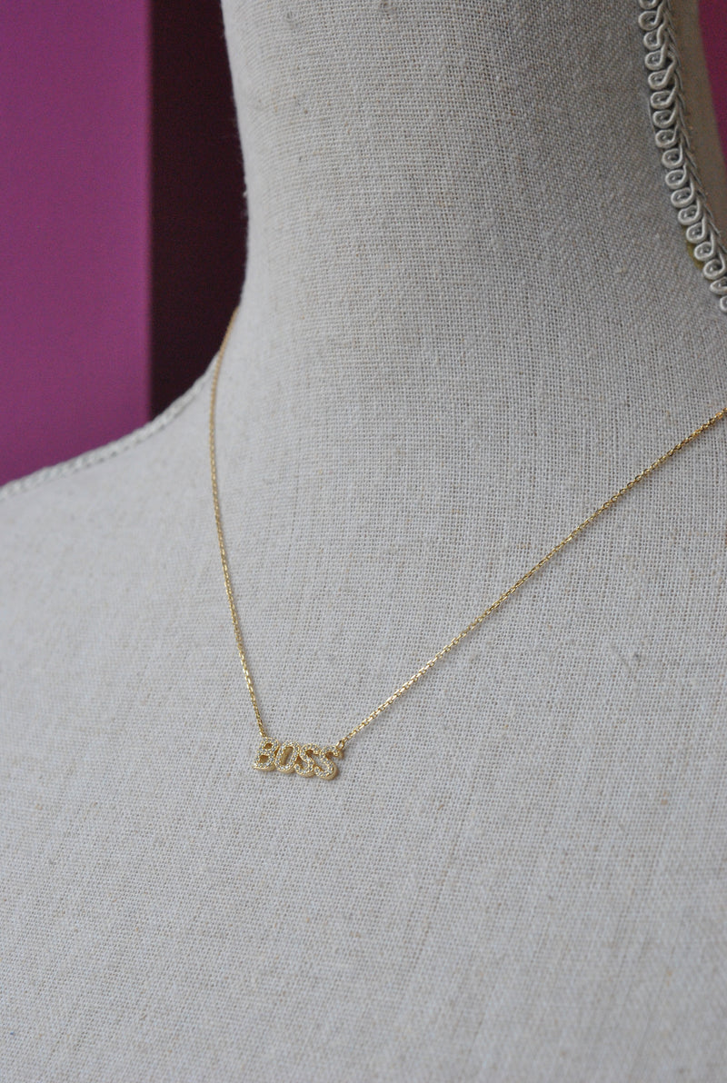 "GOLD CHOKER STYLE NECKLACE WITH ""BOSS"" CHARM"