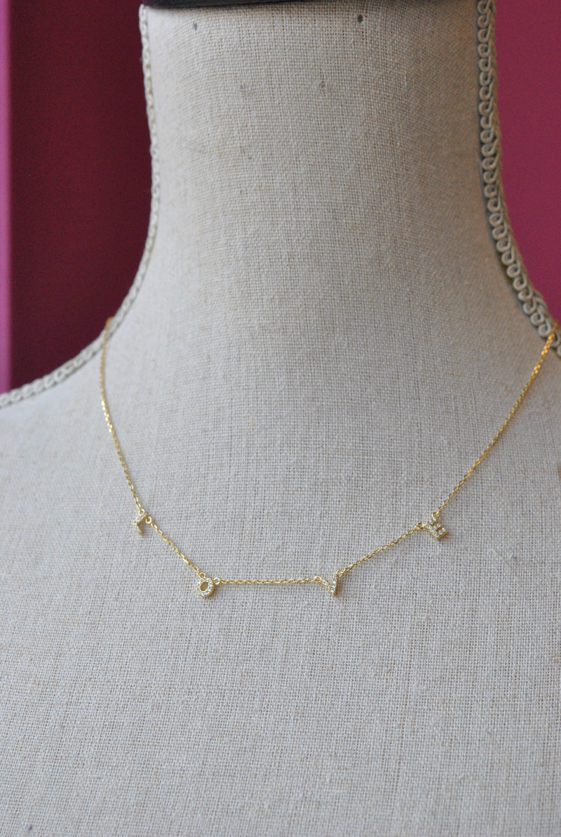 "GOLD DELICATE ""LOVE"" CHARM NECKLACE"