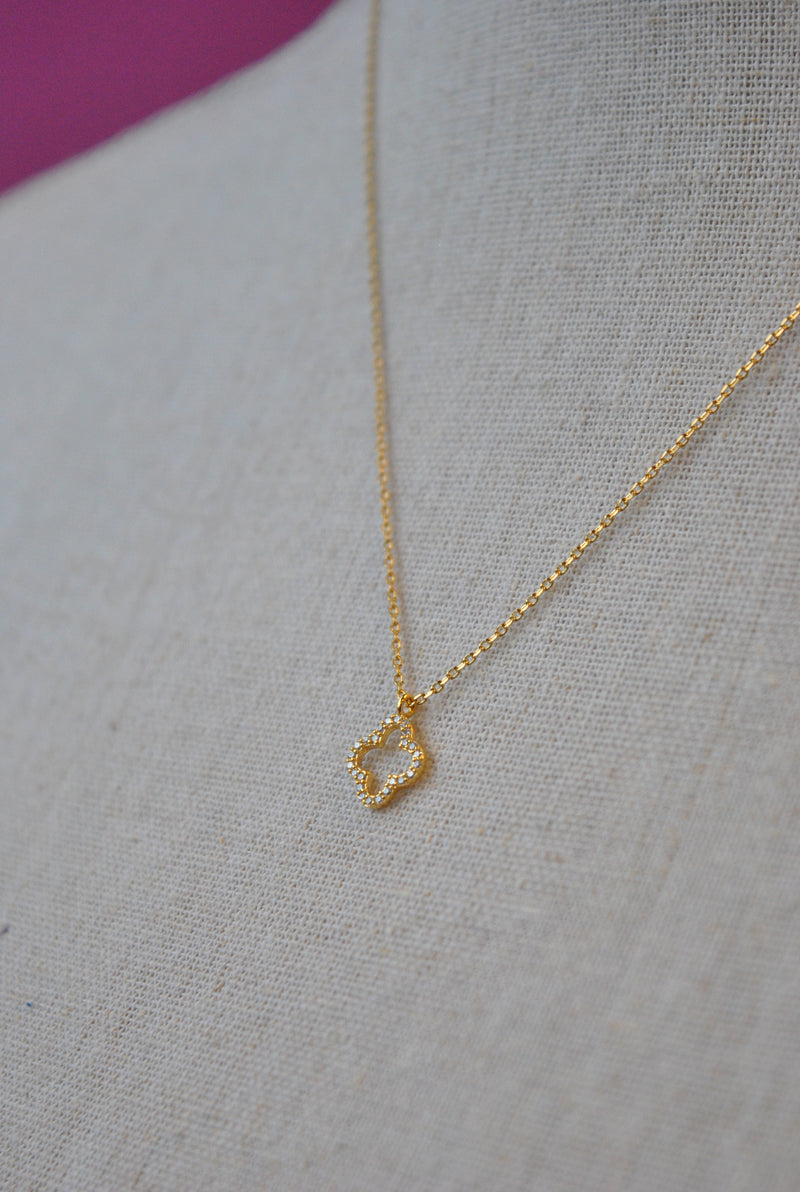 "GOLD DELICATE NECKLACE WITH ""FLEUR DE LIS"" CHARM"