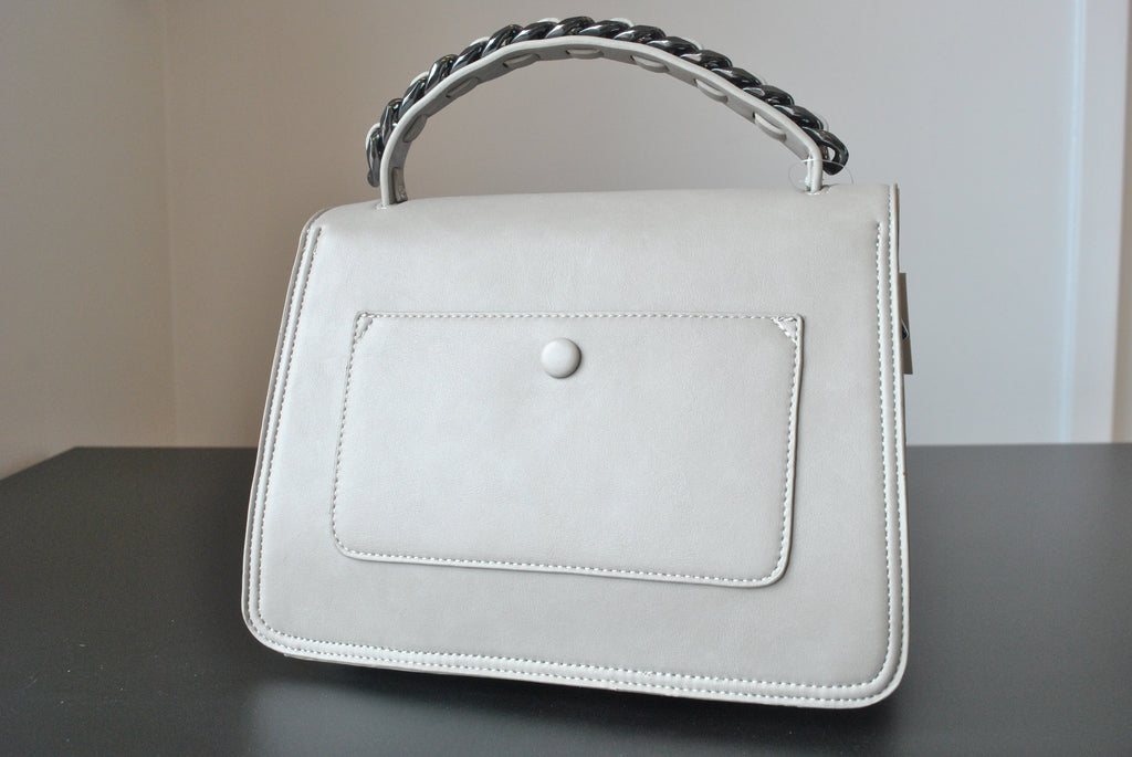 SILVER ECO LEATHER CROSSBODY / SATCHEL BAG WITH GUNMETAL CHAIN DETAILS