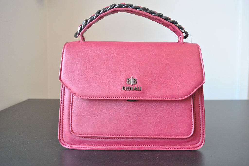 RASPBERRY FAUX LEATHER SATCHEL / CROSSBODY HANDBAG WITH CHAIN DETAILS
