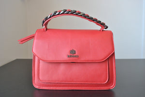 RED FAUX LEATHER SATCHEL / CROSSBODY HANDBAG WITH CHAIN DETAILS