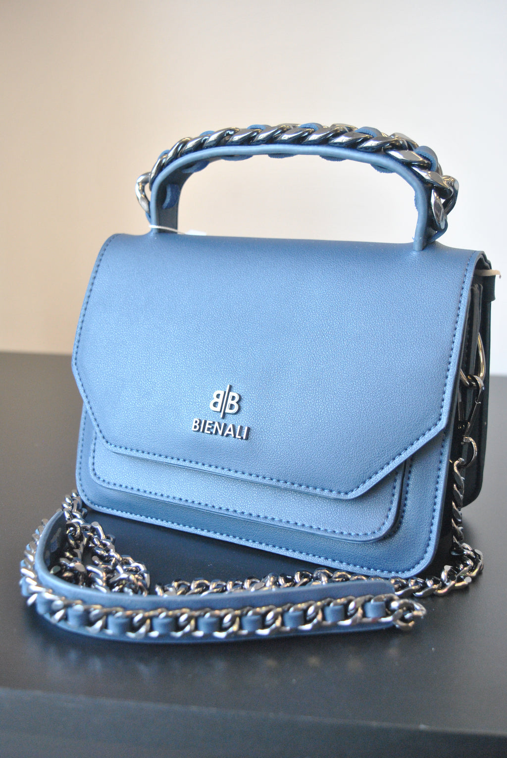 NAVY BLUE MINI SATCHEL WITH DETACHABLE CROSSBODY CHAIN