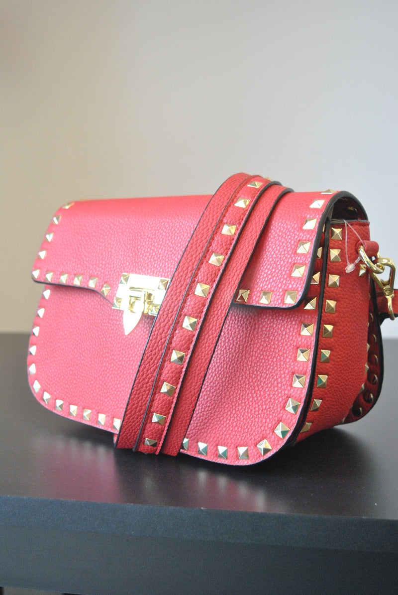 RED CROSSBODY BAB WITH GOLD STUDS