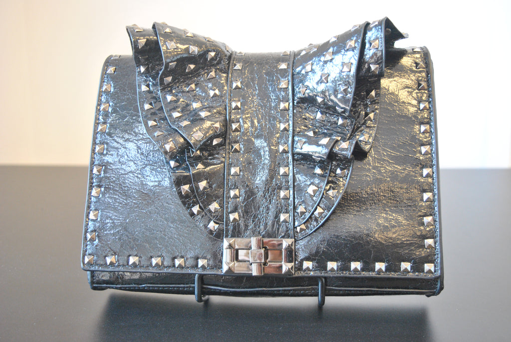 BLACK FAUX LEATHER CROSSBODY / CLUTCH BAG WITH STUDS