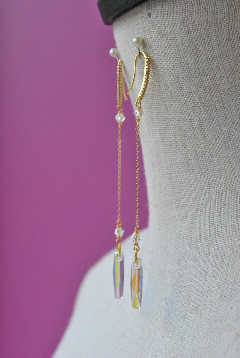 SWAROVSKI CRYSTALS LONG CHAIN EARRINGS