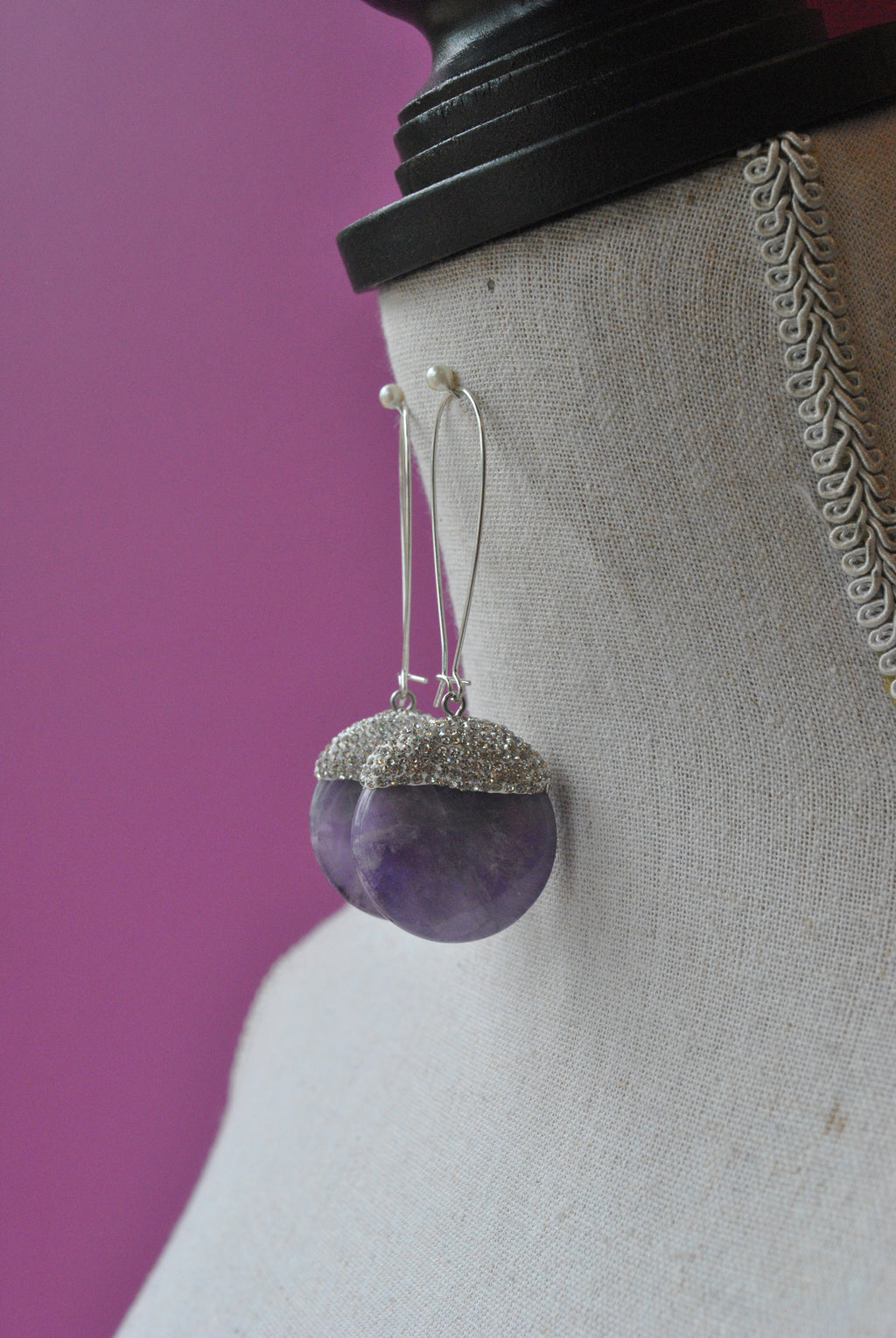 AMETHYST AND SWAROVSKI CRYSTALS LONG STATEMENT EARRINGS