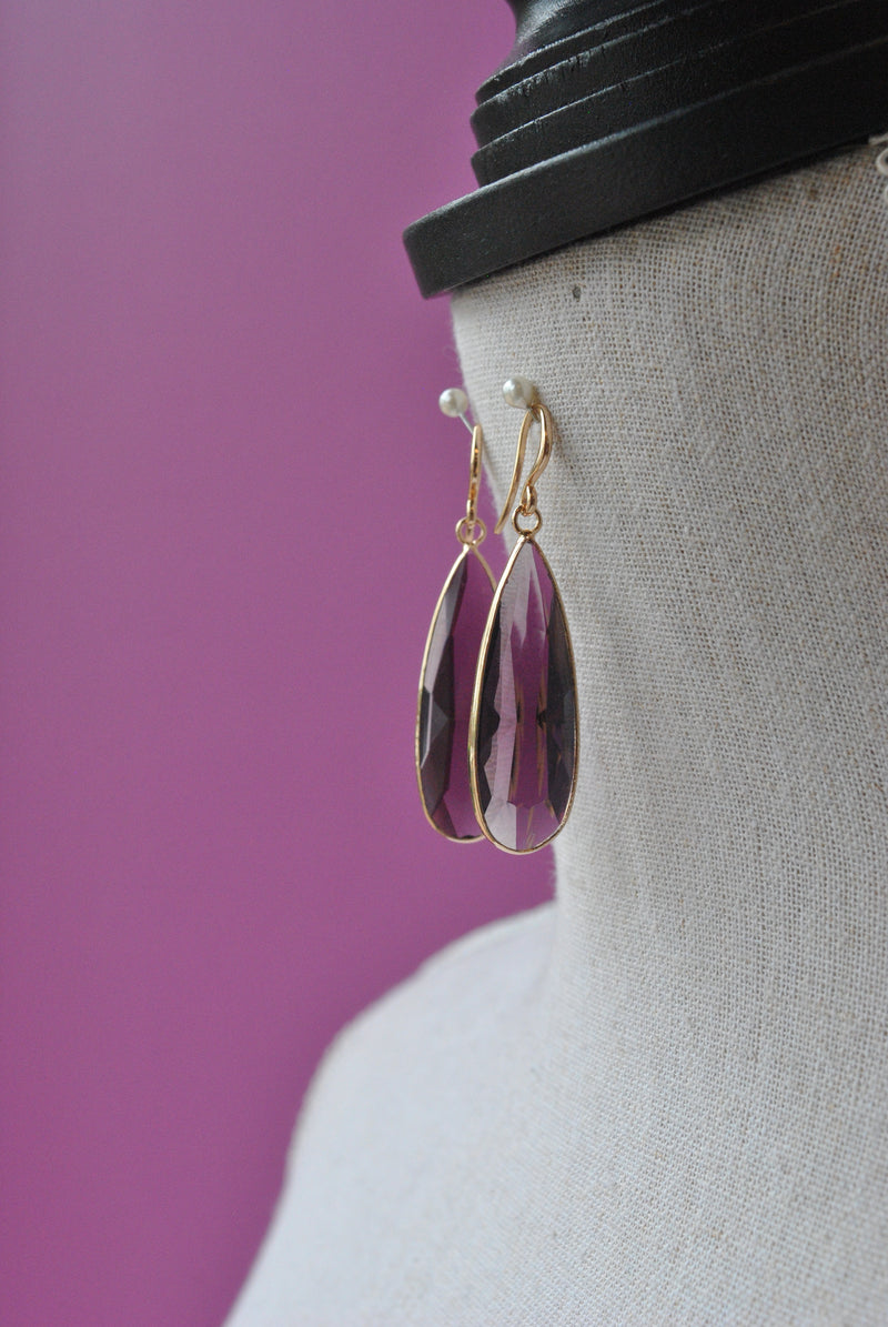 AMETHYST TEARDROP EARRINGS ON GOLD