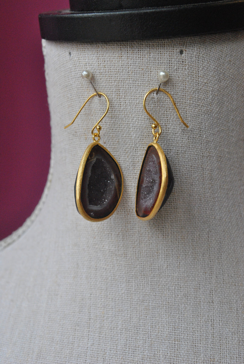 BURGUNDY AGATE STONE WITH DRUZY RAW EARRINGS