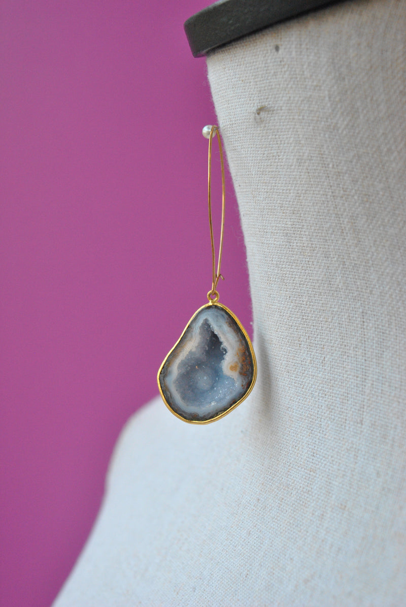 BLUE LACE AGATE WITH DRUZY RAW LONG STATEMENT EARRINGS