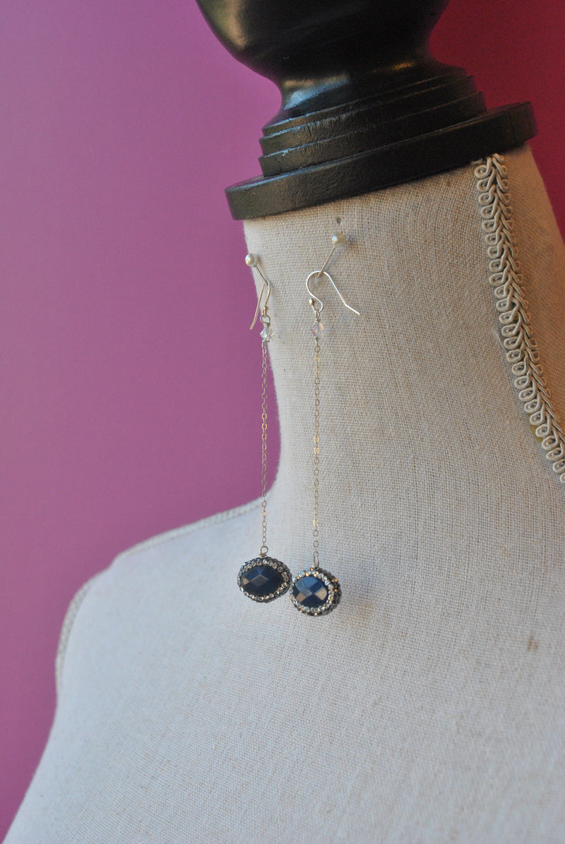 LAPIS AND SWAROVSKI CRYSTALS SILVER CHAIN LONG EARRINGS