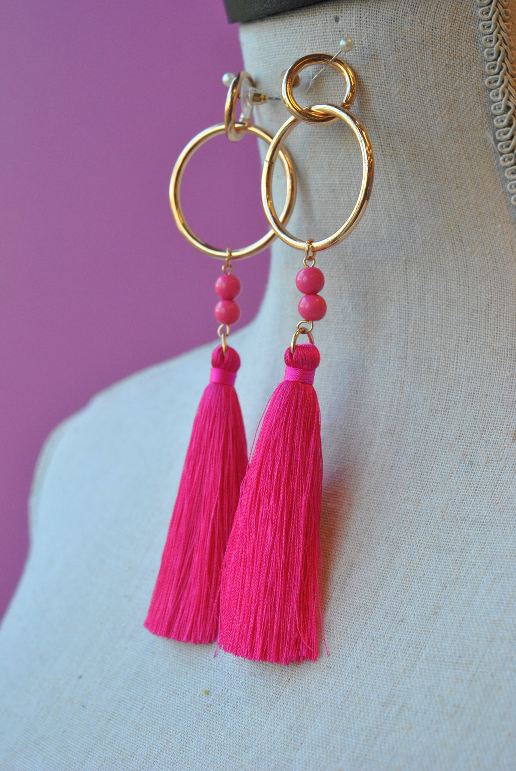 FASHION COLLECTION - HOT PINK FRINGE LONG EARRINGS