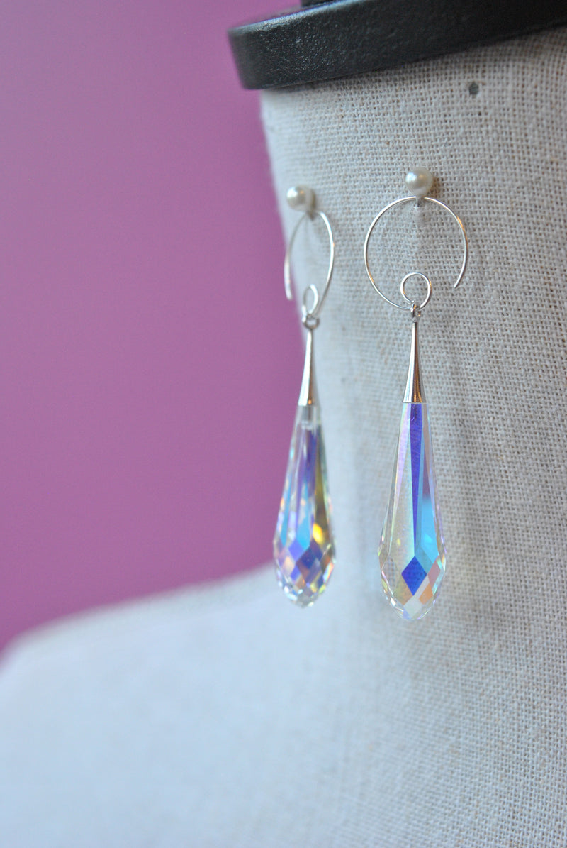 CLEAR AB CUT SWAROVSKI CRYSTALS STATEMENT EARRINGS